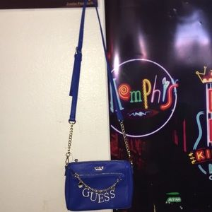 Blue guess cross body bag